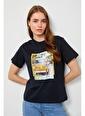 Setre Bej Baskılı Kısa Kol T-Shirt Siyah